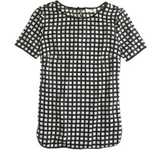 Jcrew Tipped silk tee in windowpane size 2